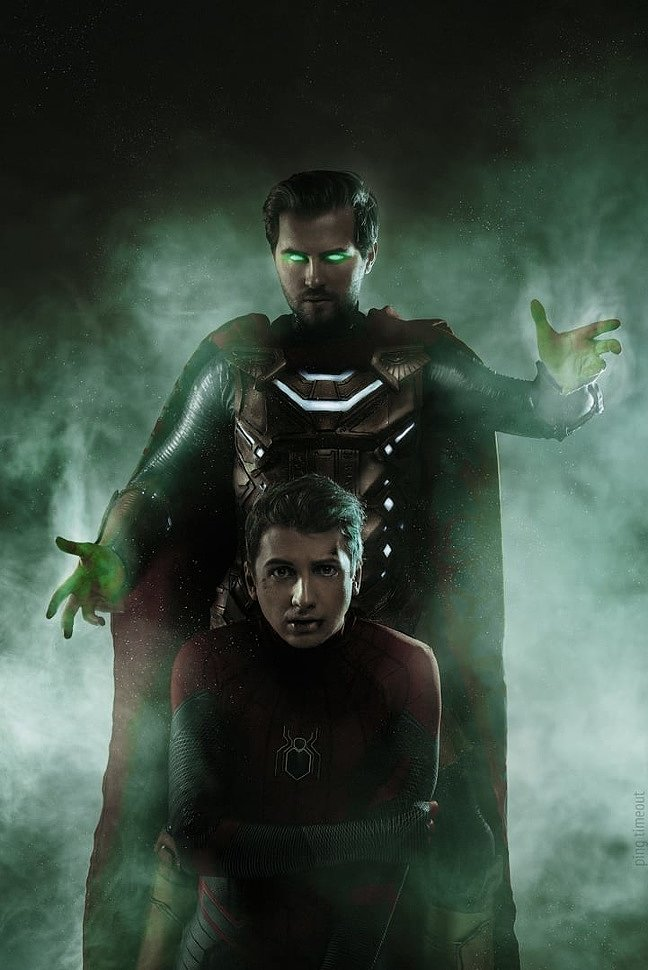 Russian Cosplay: Mysterio & Spider-man (Spider-Man: Far From Home) by GraysonFin & Shimyr