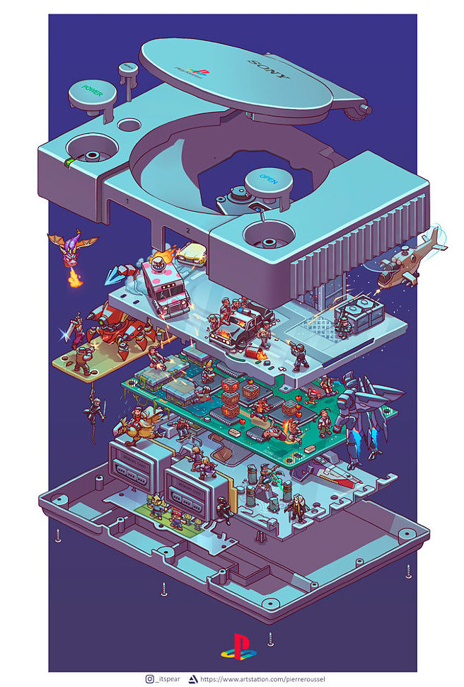 Art: PlayStation 1 (exploded view) by Poire_