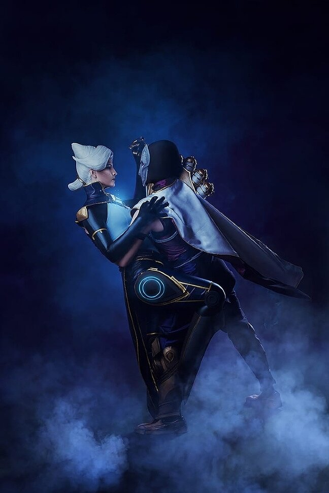 Russian Cosplay: Camille & Jhin (League of Legends) by RossoFiore & William Delentayh