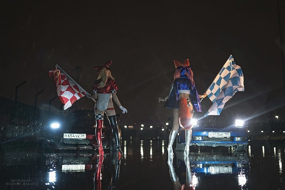 Russian Cosplay: Tamamo & Nero (Fate Racing) by Mono Xia & Vito